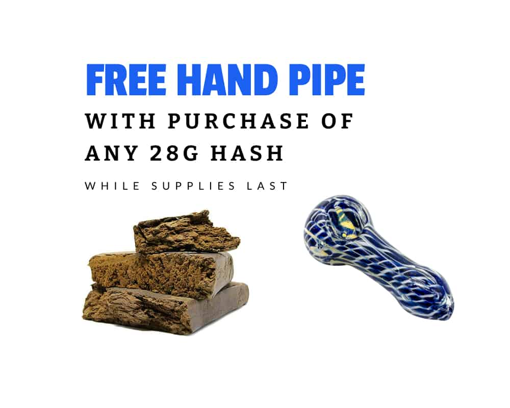 free hand pipe with purchase of 28g hash promo